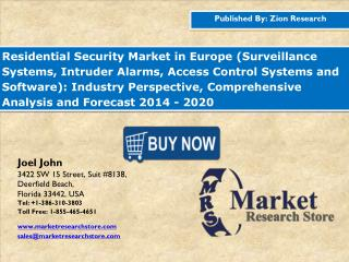 Residential Security Market in Europe Industry Perspective, Comprehensive Analysis and Forecast 2014 - 2020