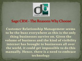 Sage CRM - The Reasons Why Choose