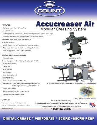 Count AccuCreaser Air Modular Creasing Machine - Printfinish.com