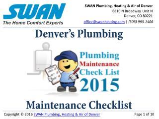 Plumbing Maintenance Checklist for Denver, Colorado