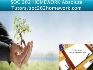 SOC 262 HOMEWORK Absolute Tutors/soc262homework.com