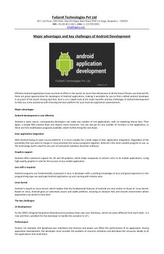Major advantages and key challenges of Android Development