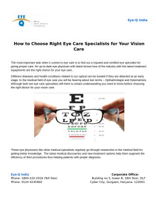 How to Choose Right Eye Care Specialists for Your Vision Care