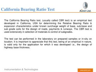 California Bearing Ratio (Aimil)