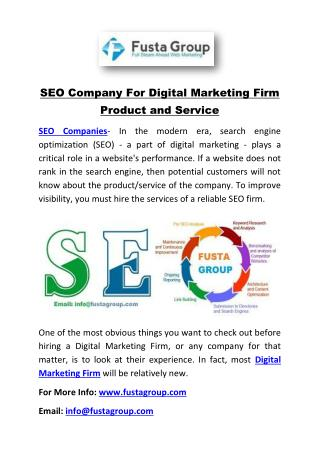 SEO Company For Digital Marketing Firm Product and Service