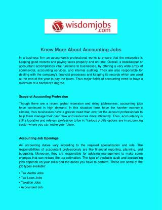 Know More About Accounting Jobs