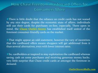 How Chase Freedom mastercard Offers for Consumers More