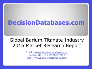Global Barium Titanate Industry- Size, Share and Market Forecasts 2021