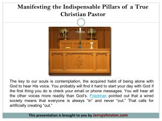 Manifesting the Indispensable Pillars of a True Christian Pastor