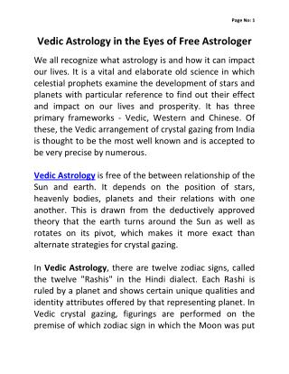 Vedic Astrology in the Eyes of Free Astrologer
