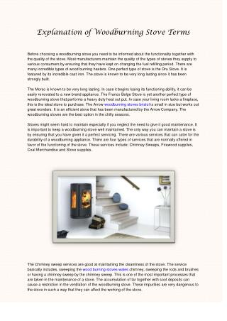 Explanation of Woodburning Stove Terms