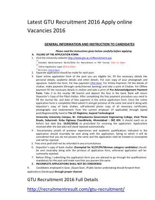 Latest GTU Recruitment 2016 Apply Online Vacancies 2016