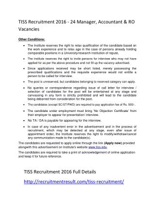 TISS Recruitment 2016 - 24 Manager, Accountant & RO Vacancies
