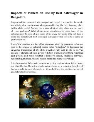 Impacts of Planets on Life by Best Astrologer in Bangalore