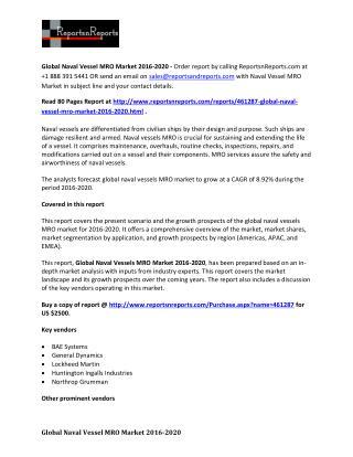 World Naval Vessel MRO Market Research Report 2015 – 2020