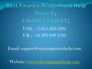 Best Finance Assignment Homework Help