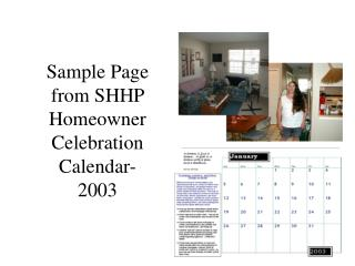 Sample Page from SHHP Homeowner Celebration Calendar-2003