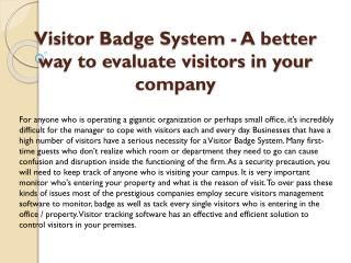 Visitor Badge System - A better way to evaluate visitors in your company