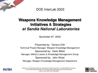DOE InterLab 2003
