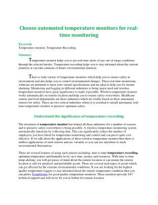 Choose automated temperature monitors for real-time monitoring