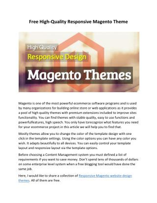 Free High-Quality Responsive Magento Theme
