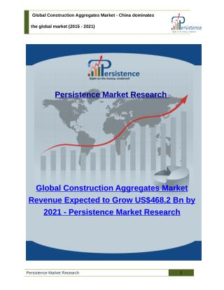 Global Construction Aggregates Market : Share, Trends, Analysis, Size to 2021