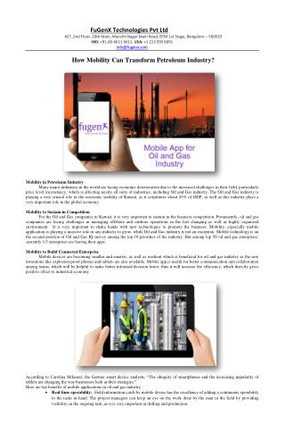 How Mobility Can Transform Petroleum Industry?