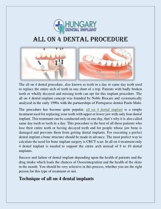 All On 4 Dental Implant Prodedure in London UK
