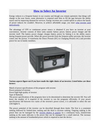 How to Select An Inverter.pdf