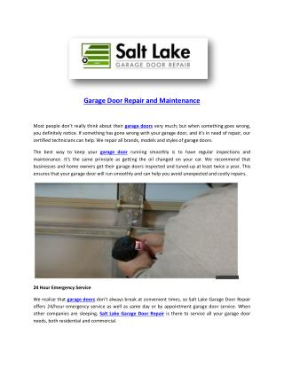 Garage door repair and maintenance garagedoorrepairslc