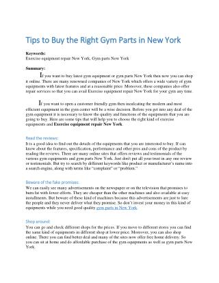 Tips to Buy the Right Gym Parts in New York