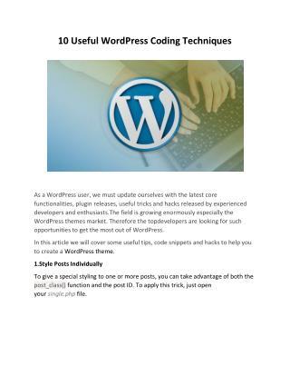 10 Useful WordPress Coding Techniques