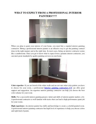 WHAT TO EXPECT FROM A PROFESSIONAL INTERIOR PAINTER?