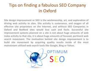 Tips on Finding A Fabulous SEO Company in Oxford