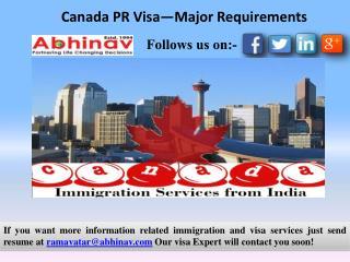 Canada PR Visa—Major Requirements