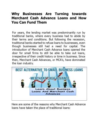 Why Businesses Are Turning towards Merchant Cash Advance Loans and How You Can Fund Them