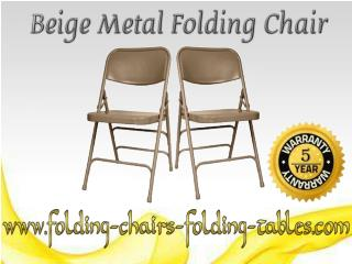 Beige Metal Folding Chair - Folding Chair Larry Hoffman