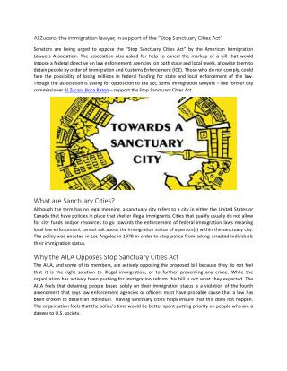 "Al Zucaro, the immigration lawyer, in support of the ""Stop Sanctuary Cities Act"""