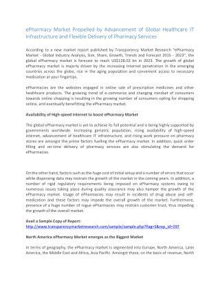 ePharmacy Market to Reach US$128 bn by 2023