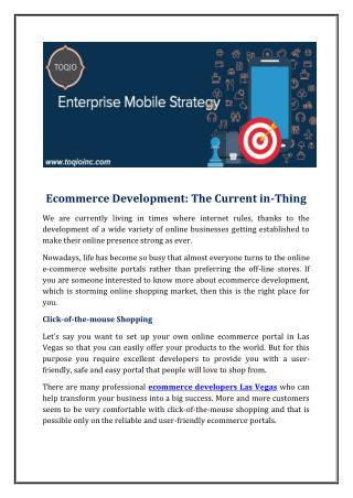 Ecommerce Development: The Current in-Thing