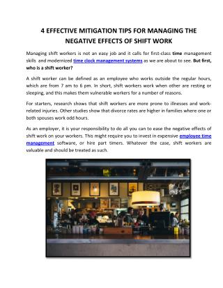 4 Effective Mitigation Tips for Managing the Negative Effects of Shift Work