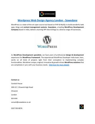 Wordpress Web Design Agency London - Sowedane