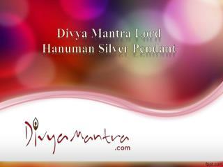 Divya Mantra Lord Hanuman Silver Pendant