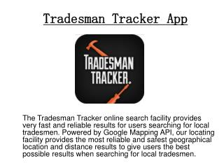 Tradesman Tracker - GPS Tracking App