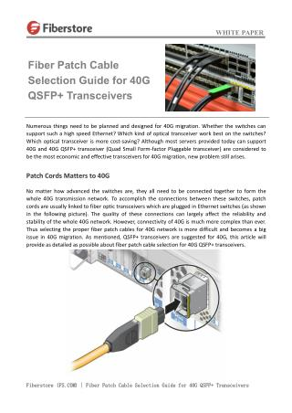 Fiber Patch Cable Selection Guide for 40G QSFP  Transceivers