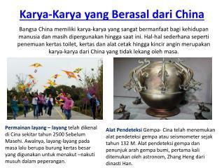 Karya karya yang berasal dari China