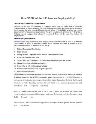 How SEED Infotech Enhances Employability!