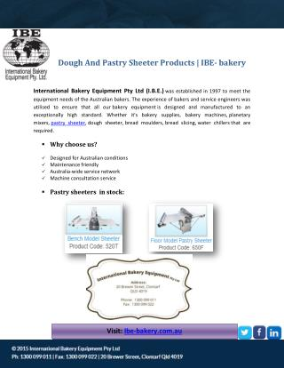 Dough And Pastry Sheeter Products - IBE- bakery