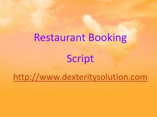PHP Open Source Restaurants Booking Script