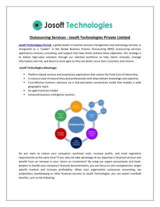 JOSOFT TECHNOLOGIES provides world class outsourcing